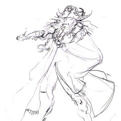 Sketch of a more pirate-like Faris by Yoshitaka Amano.
