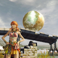 Vanille in Oerba with Cocoon behind her in the sky.