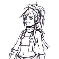 Concept art of Rikku for <i>Kingdom Hearts</i>.