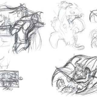 Logo sketches for <i>Final Fantasy</i>, <i>Final Fantasy II</i> and <i>Final Fantasy III</i>.