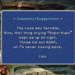 Lani's complaint to the inn of Lindblum.