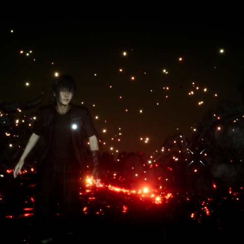 Noctis's eyes glow red after a summoning.