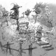 Concept of the graveyard in Black Mage Village with Vivi.