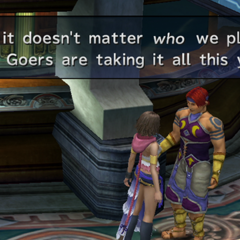 Bickson bragging in <i>Final Fantasy X-2</i>.