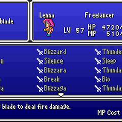 The Sword Magic menu in the GBA version.