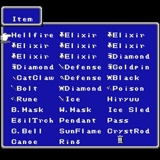 Item menu in the NES version.
