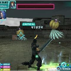 Zack strikes a critical hit in <i>Crisis Core</i>.