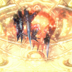 Bahamut ZERO summoned through a depiction of Etro's gate in <i>Final Fantasy Type-0 HD</i>.