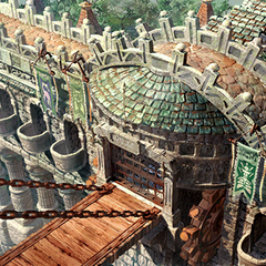 Monsters are released from the cages and they enter across the bridge to town.