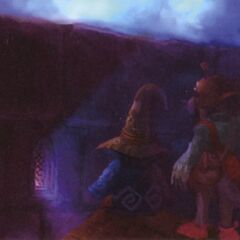 Concept art of Vivi and Puck sneaking into the play.