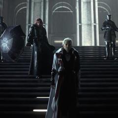 Ardyn speaking with Iedolas Aldercapt in Insomnia (E3 2013).
