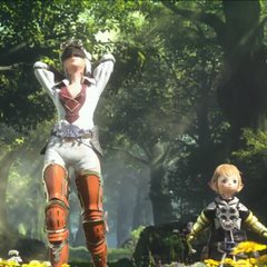 Papalymo and Yda in the opening of <i>A Realm Reborn</i>.
