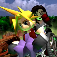 Cloud in a wheelchair in an FMV.