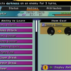 Aeon Abilities menu (PS2).
