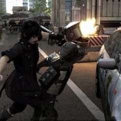A police car seen in the <i>Final Fantasy XV</i> E3 2013 trailer.