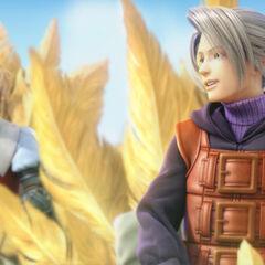 Luneth com um chocobo <i>Final Fantasy III</i>.