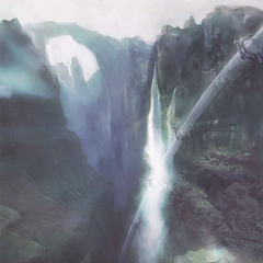 Artwork of the train-line leading towards the Hanging Edge, as seen in the game's intro.