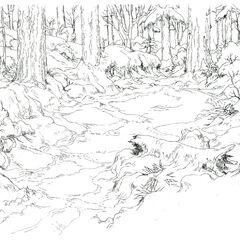 Concept art of the Beginner's Forest.