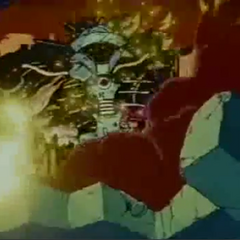 Deathgyunos after rising from the rubble.