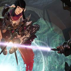 Zenos parries Yugiri's attack.