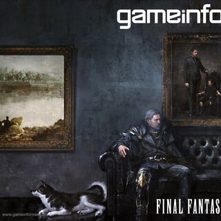 Regis sits with Noctis and Umbra on the cover of the <i>Final Fantasy XV</i>-focused issue of <i>GameInformer</i>.