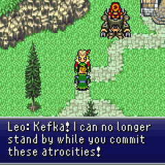 General Leo standing up against Kefka.