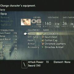 Equipment screen in <i><a href=