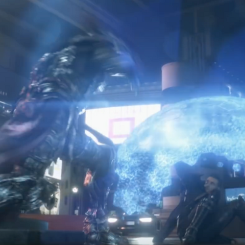 Nyx Ulric shields Luna with magic in <i>Kingsglaive: Final Fantasy XV</i>.