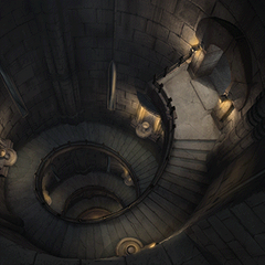 The top of the stairway in Alexandria Castle's west tower.