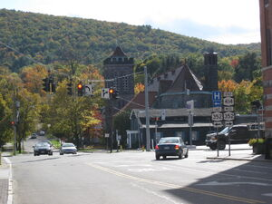 Route 414 at its southern terminus in Corning, New York route 352 junction