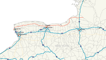 New York State Route 104 map