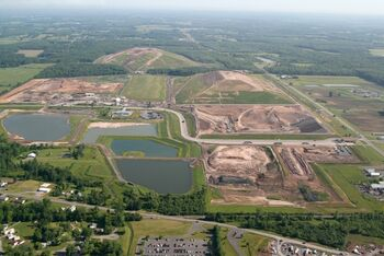 Seneca Meadows Landfill aerial shot from an airplane