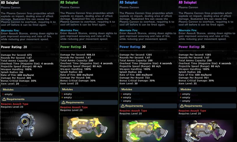 Equipment rarity comparison