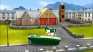 Charlie's Fishing Boat marooned in front of the Fire station