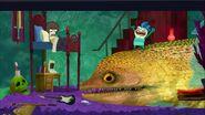 Oscar woken up by the eel