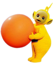 Laa-Laa from the show carrying her ball