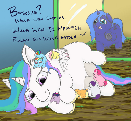 File:29965 - MLP as Fluffies artist jberg360 cage celestia crying featured image full autism luna main six mlp nursing safe.png