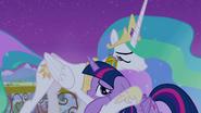 Twilight hugging Princess Celestia S4E25