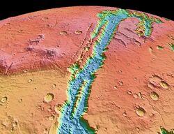 Valles Marineris NASA World Wind map Mars