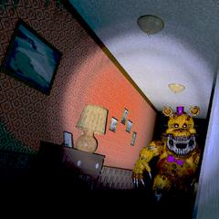 Nightmare Fredbear down the Left Hall, brightened