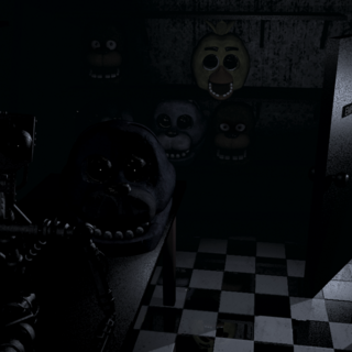 All of the animatronic heads as well as the endoskeleton staring at the camera.