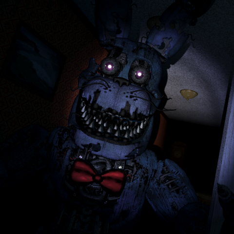 Nightmare Bonnie can be seen in the still-image frame, before attacking the player.