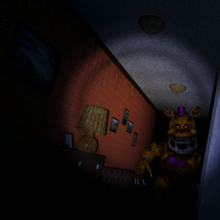 Nightmare Fredbear down the Left Hall.