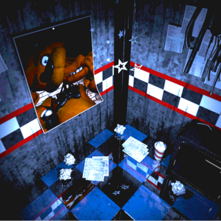 The West Hall poster of Freddy ripping his head off, brightened and saturated for clarity.