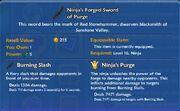 Ninja's Forged Sword of Purge item