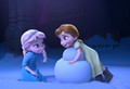 Anna and Elsa building Olaf.png