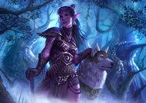 Nightelf with wolf by nimao-d6y1djn