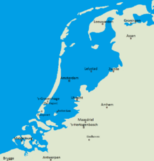 Map of Netherlands after The Great Tidal