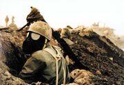 Iranian soldier gas mask