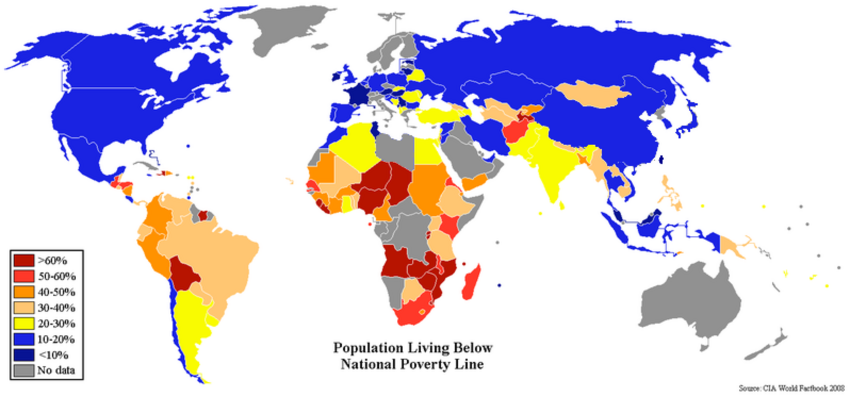 Percent Poverty World Map